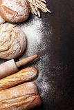 Various crusty bread and buns stock image