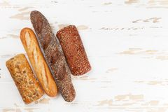 Various crusty bread and buns royalty free stock image