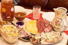 Various culinary specialties and drinking Stock Photo