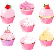 Various cupcake. Set of seven various cupcake Stock Image