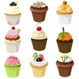 Various cupcake set with different topping Stock Images