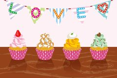 Various Cupcakes in party-EPS10 Stock Images