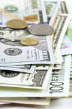 Various currencies close-up Royalty Free Stock Photography