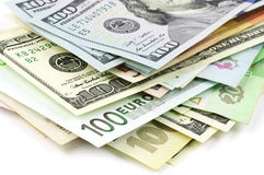 Various currencies close-up Stock Photography