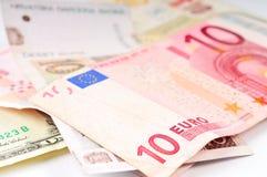 Various Currencies Closeup. Various currency small bills closeup Royalty Free Stock Photo