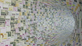 Various currencies tunnel fly through, bloom, Alpha, stock footage. Video stock video footage