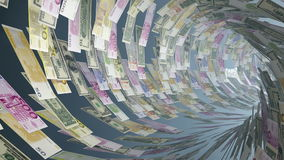 Various currencies tunnel fly through with light bloom, Alpha, stock footage. Video stock video