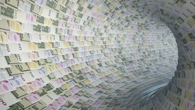 Various currencies tunnel fly through, light bloom, Alpha, stock footage. Video stock video footage