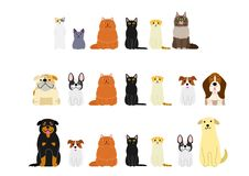 Various cats and dogs border set. Various Cute cats and dogs border set stock illustration