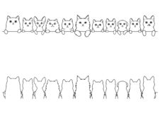 Various cute cats line art border set. Cute cats border set, various breed, front side and back side stock illustration