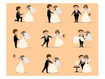 Various cute doodle wedding couple Royalty Free Stock Photo