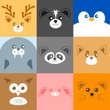 Various Cute Face Animal Face Illustration stock illustration