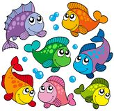 Various cute fishes collection 2 stock illustration