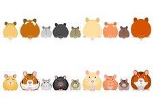 Cute hamsters in a row