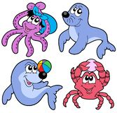 Various cute marine animals collection Royalty Free Stock Image