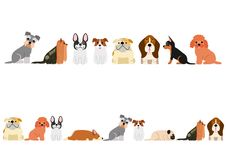 Cute dogs border set. Various Cute small dogs border set royalty free illustration