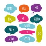 Various Cute speech bubble doodle stickers set with multiple colors - stock vector stock illustration