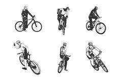 Various cycling poses in black and white silhouettes. Different angle views of cyclists from men and women. Bike types and cycling sign set. Eps 10 royalty free illustration