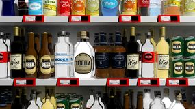 Various 3D beverages products on supermarket Stock Photo