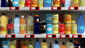 Various 3D beverages products on supermarket Stock Images