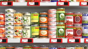 Various 3D can food products Royalty Free Stock Photos