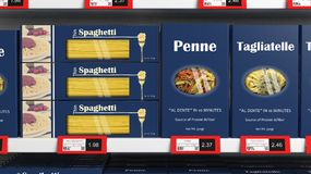 Various 3D pasta boxes on supermarket Stock Photography