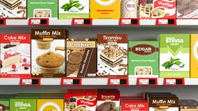 Various 3D sweets products on supermarket Royalty Free Stock Image