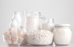 Various dairy products. Cheese, sour cream, milk, yogurt, kefir. On a blue background Stock Photo