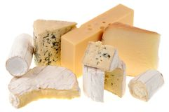Assortment of french cheeses on a white background stock photo