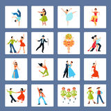 Various Dance Styles Flat Icons Royalty Free Stock Images