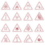 16 various danger signs types outline icons. Eps10 royalty free illustration
