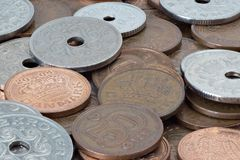 Various Danish coins. Close up photo of danish money coins with large DOF Stock Photos