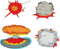 Various Deadly Explosions. Set of four cartoon explosions over white background Royalty Free Stock Images