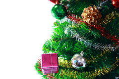 Various Decorations On Christmas Tree On White Background Royalty Free Stock Photography