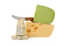 Various delicious cheese types with knife. Royalty Free Stock Photography