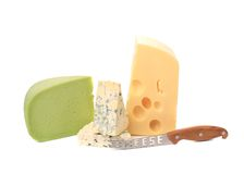 Various delicious cheese types with knife. Royalty Free Stock Images