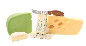Various delicious cheese types with knife. Stock Image