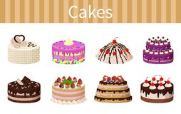 Various Delicious Desserts Vector Illustration. Cakes various delicious desserts vector illustration of different shapes pies with chocolate strawberries and red Stock Photos