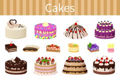 Various Delicious Desserts Vector Illustration. Cakes various delicious desserts vector illustration of different shapes pies with chocolate strawberries and red Stock Photo