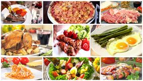 Various delicious food recipes collage stock footage