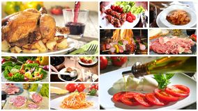 Various delicious food recipes collage stock video footage