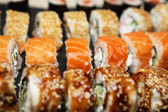 Various delicious Types of Sushi Rolls Royalty Free Stock Photos