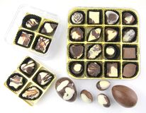 Various delicous chocolate pralines. On white back ground Stock Photography