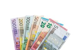 Various denominations of euro  banknotes isolated. On white. Place for text Royalty Free Stock Photo