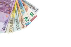 Various denominations of euro banknotes isolated on white. Various denominations of euro  banknotes isolated on white. Place for text Royalty Free Stock Image