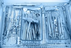 Various dental instruments. With blue tone Stock Photos