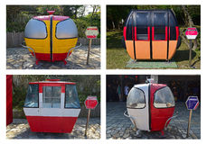 Various design of retired cabin cable cars from different attractions around Europe Royalty Free Stock Photo