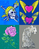 Various designs. A collection of varied creative designs with a rose, a leopard, hearts, wings, and a skull Stock Photo