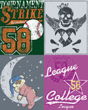 Various designs. A pack of various creative designs with skull wings, heart and sports concepts Stock Photography