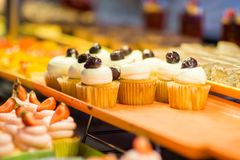 Various dessert on display in bakery shop Royalty Free Stock Photography